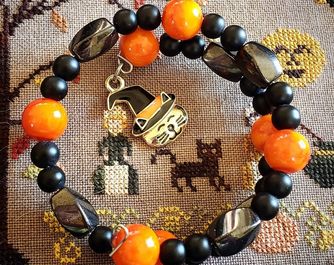 Expandable bracelet Halloween themed cat Charm