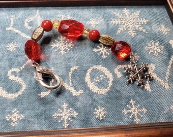 Scissor Fob - Cross Stitch Embroidery - Christmas Themed