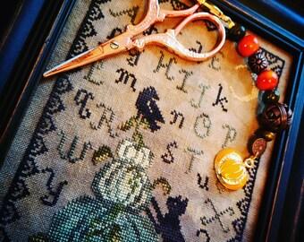 Scissor Fob - Cross Stitch Embroidery - Halloween themed pumpkin charm