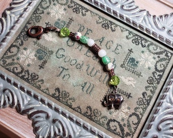 Scissor Fob - Cross Stitch Embroidery - Elephant Charm.  Acrylic and glass beads