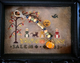 Scissor Fob - Cross Stitch Embroidery - Halloween themed pumpkin charm