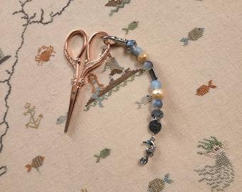 Scissor Fob - Cross Stitch Embroidery - Purple gems