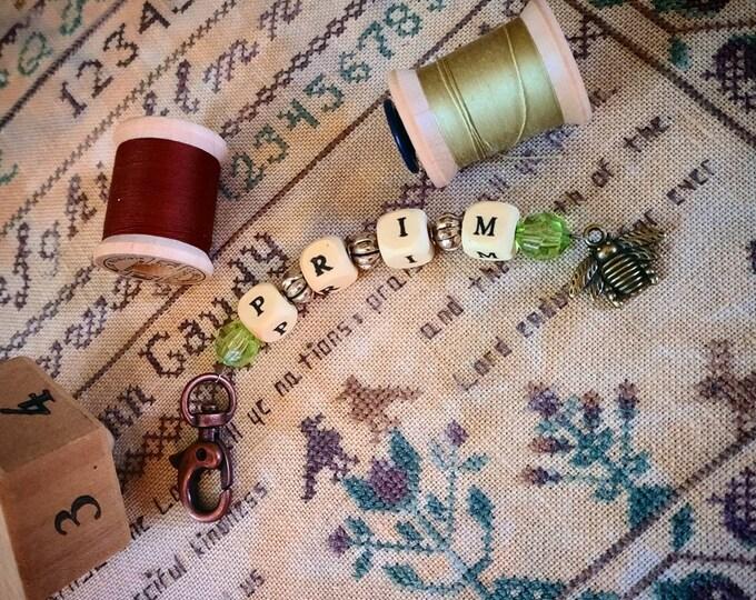 Scissor Fob - acrylic beads and glass beads. Prim letter blocks