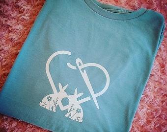 Cross stitch inspired shirt Bunny