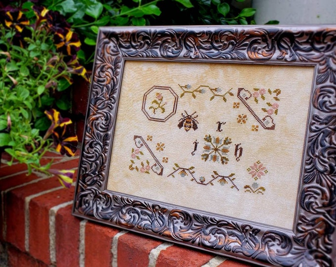 Busy Bee Sampler counted cross stitch pattern - PDF Digital Download