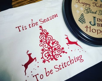Christmas themed stitching project bags. Polyester and canvas material.