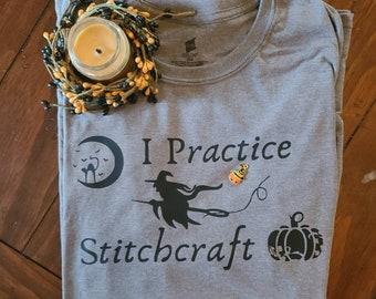 Halloween cross stitch tshirt design.  I Practice Stitchcraft