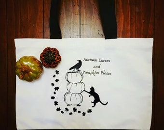 Autumn Leaves and Pumpkins Please project bag