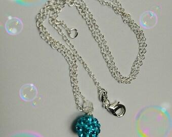 Necklace pendant Shamballa rhinestone - assorted colors