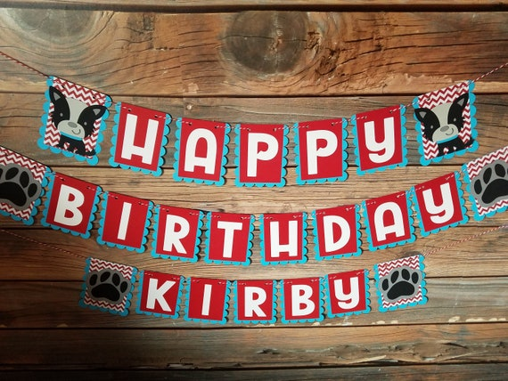 dog birthday party theme puppy name banner paw print banner Dog birthday banner puppy happy birthday