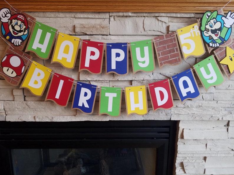 mario bros birthday banner video game birthday party mario birthday banner game party super mario bros Super Mario Birthday party banner
