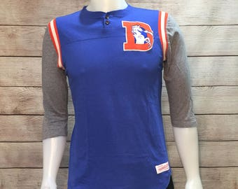 Vintage Denver Broncos baseball cut shirt NFL Football Denver Broncos vintage logo