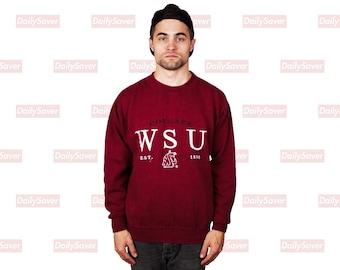561427dc Washington State University Cougars Sweatshirt Vintage WSU Cougars Crimson  and Gray Cougs Crewneck Sweatshirt Vintage Lee Sport
