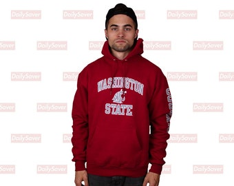 7a12f207 Washington State Cougars Champion Hoodie WSU Sweatshirt Vintage Champion Hoodie  WSU Cougs Crimson and Gray Spell out Sleeve