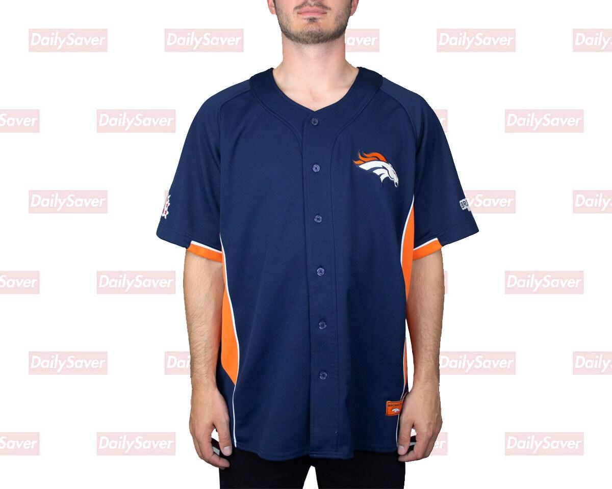 big sale 61a78 4b404 Denver Broncos Jersey Rare Vtg Denver Broncos Baseball Jersey Stitches Navy  Blue Broncos Short Sleeve Broncos Clothing NFL AFC West Men XL