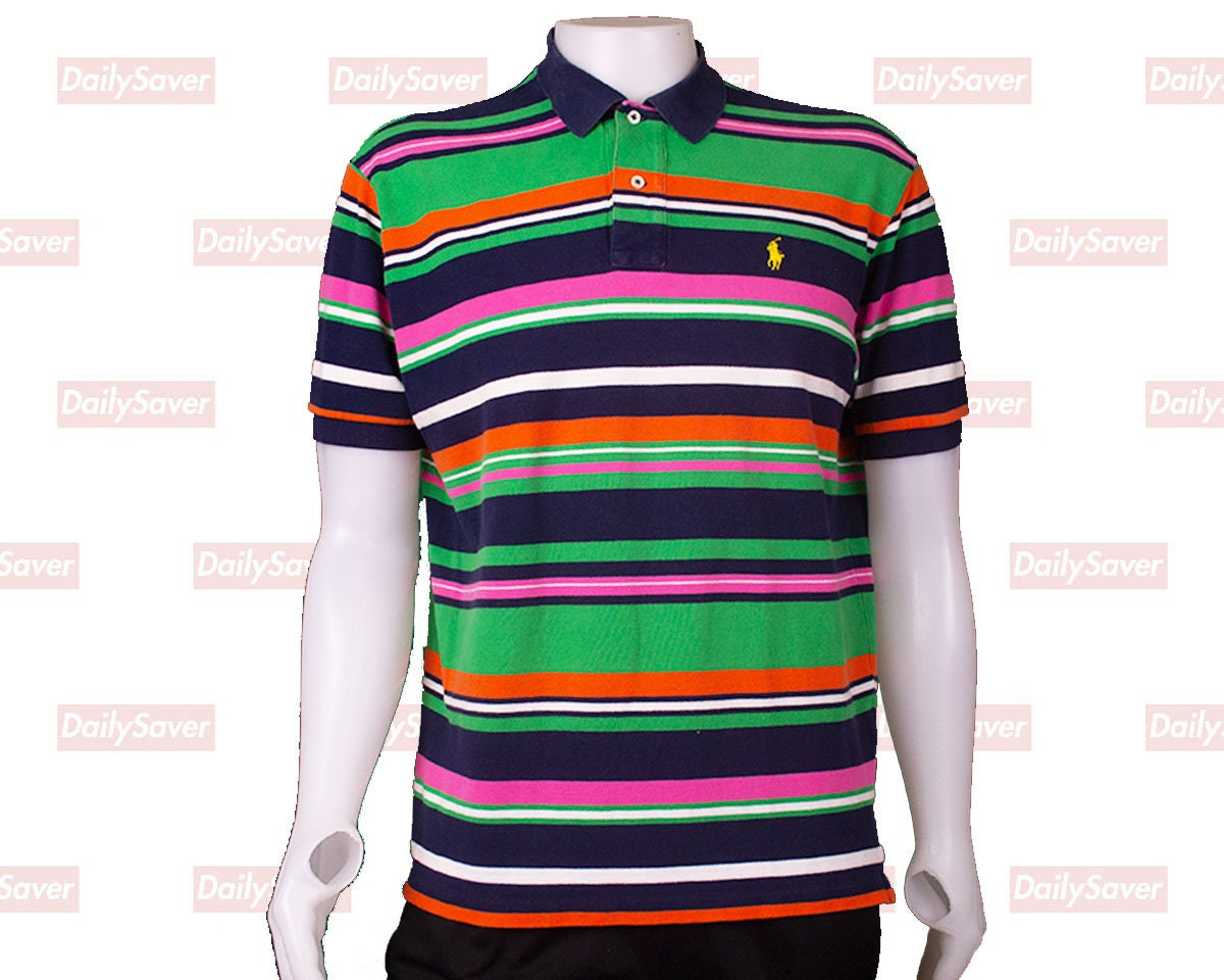 Ralph Lauren Polo Shirt Vintage Ralph Lauren Striped Polo Etsy