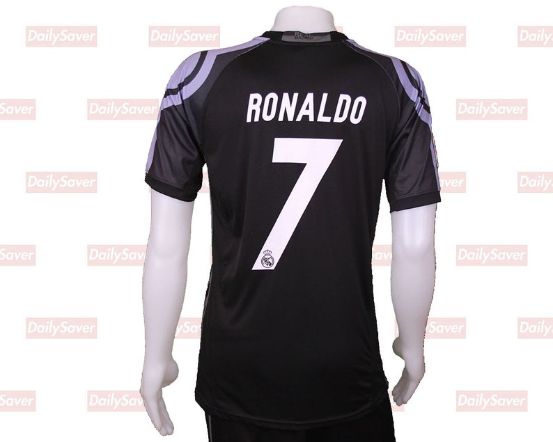 new style f149d 8ed59 Christiano Ronaldo Jersey Real Madrid Jersey Vintage Real Madrid Rare Black  Fly Emirates Jersey Black Ronaldo Jersey futbol jersey soccer