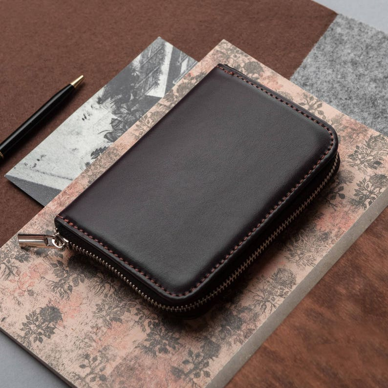 0c4ace6c6 Brown leather wallet men's zipper walle personalized | Etsy