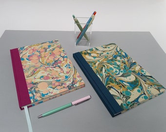 Hardback Notebook, Journal or Sketchbook, Unlined Pages, A5 Notebook, Blank Journal or Sketchbook, Marbled Paper, Lay-Flat, Gift for Writer