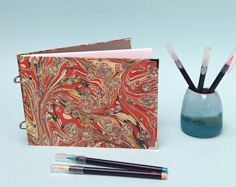 A5 Sketchbook - Hardback Medium Sketch Book - Refillable - Marbled Paper - Handmade Gift for Artist - Gift for Him - Gift for Her