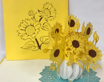 Sunflower Card 3 D Pop Up Popup 3d Poppin Paper Greeting Birthday