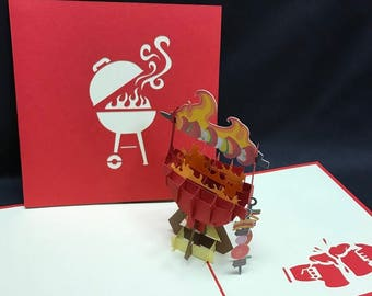 BBQ 3-d pop up card