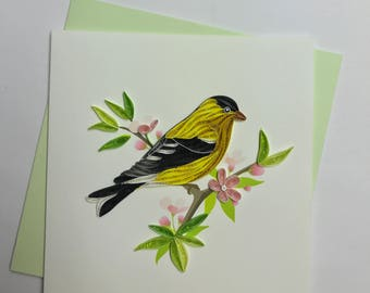 Gold Finch Quilling Greeting Card