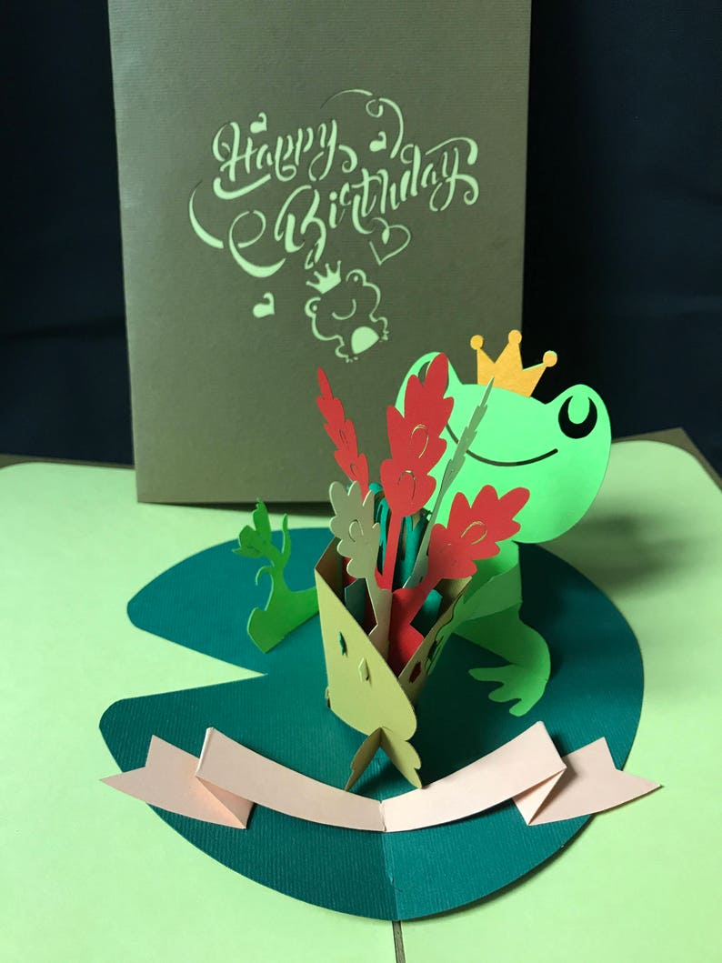 Frog 3 D Pop Up Card 3D Birthday Popup Greeting