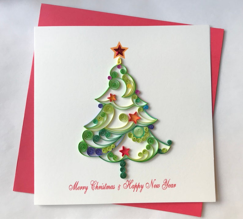Christmas Card Quilling Greeting Card Handmade Greeting Etsy