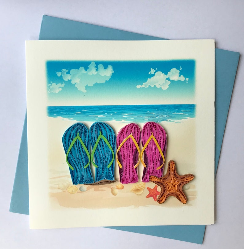 61ac8dd70 Flip Flops Greeting Card Quilling Greeting Card handmade
