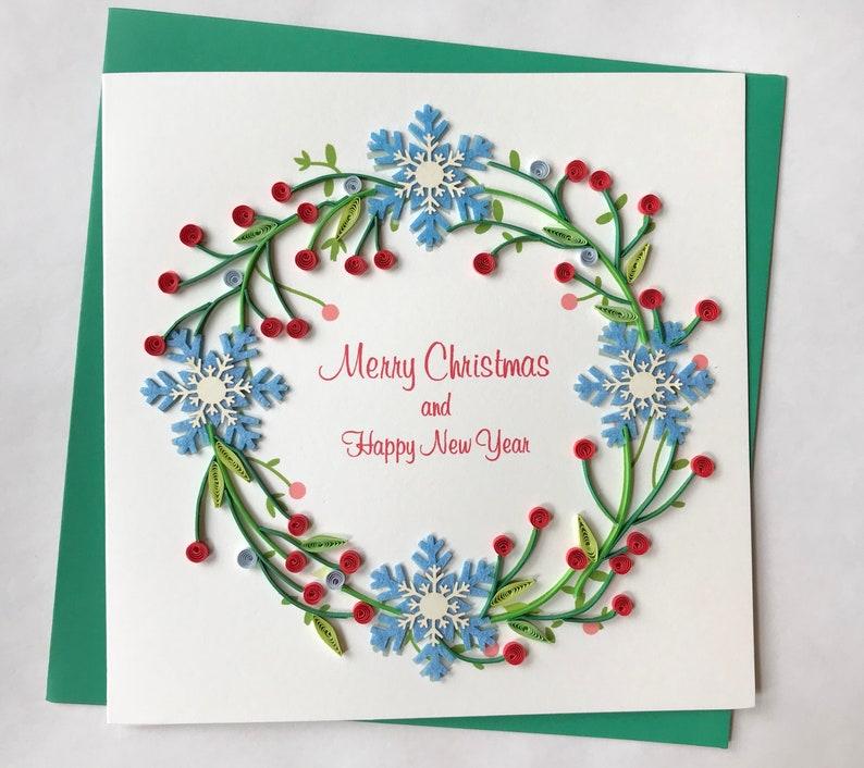 christmas card quilling greeting card handmade greeting etsy rh etsy com