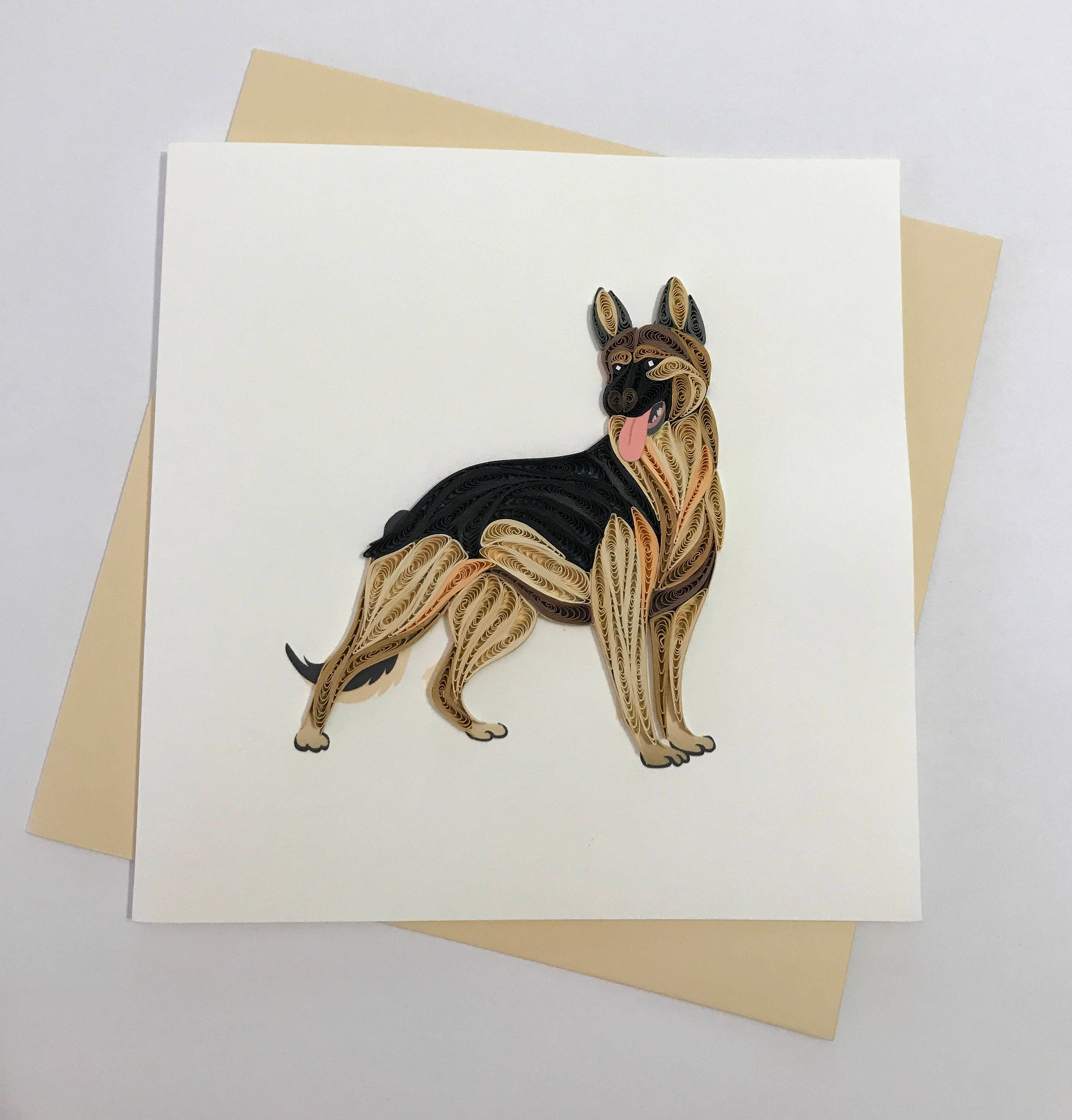 German Shepherd Dog Quilling Greeting Card Quilling Cards Etsy