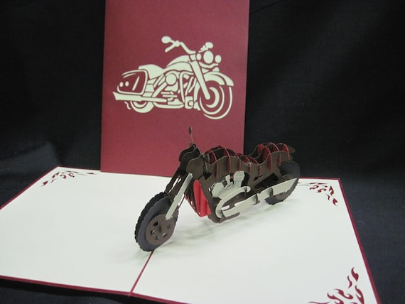 3 D Motorcycle Pop Up Card 3 D Pop Up Card 3d Birthday Card Etsy