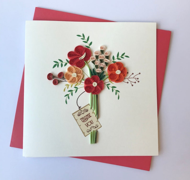 thank you card quilling greeting card handmade greeting  etsy