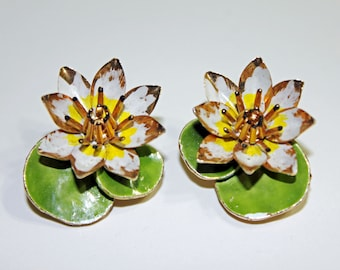 Unique 3D Enamel Lotus Flower/Water Lily & Lily Pad Clip On Earrings