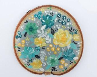 Floral - Wood Slice Painting