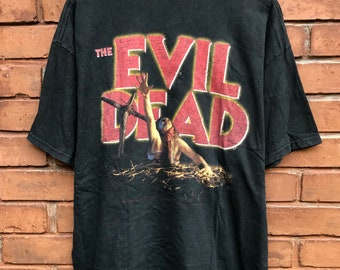 68e7cd61 Vintage 90s The Evil Dead 1 Horror Movie Zombie Bruce Campbell / Sam Raimi  / Spooky Night Of The Living Dead T-shirt Made In Usa Size XL