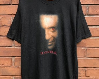 b6da59f4 Vintage 90s Hannibal The Movie horror film / The Silence Of The Lamb /  American Psycho by Ridley Scott Horror Movie Shirt Made In Usa Size L