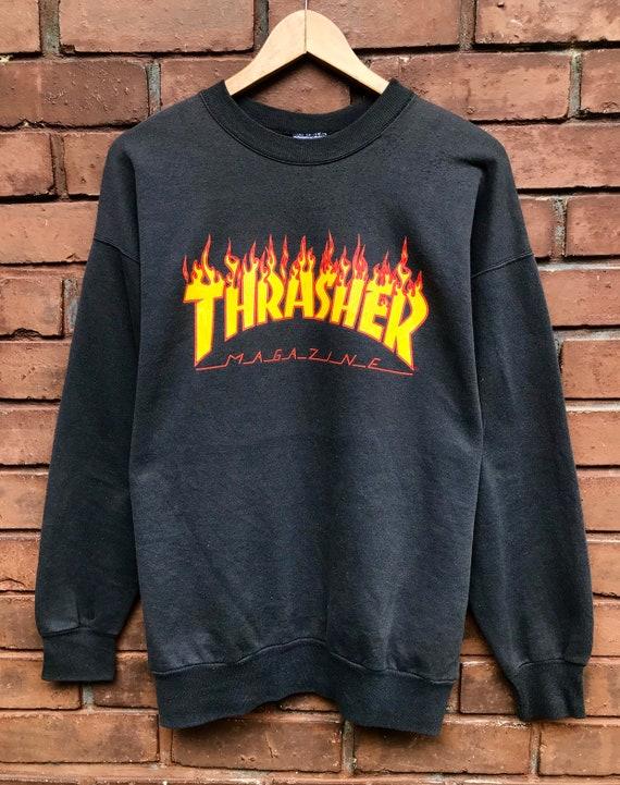 Vintage 80s True Vtg Thrasher Magazine Flame Logo Skateboard Skatewear Pull  over Sweatshirt / Powell / Thrasher / Santa Cruz Made In Usa M