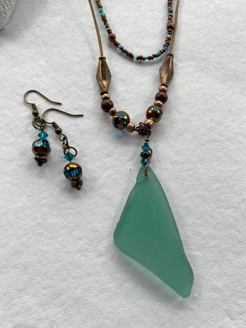 Handmade Earrings Teal Seaglass Necklace Set Jewelry Set Copper Authentic Antique Gold Layered Beaded Bronze Cord Large Recycled