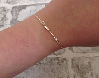Sterling silver arrow bracelet. Gift for her.