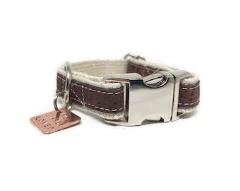 Lil' Adventurer Natural Cork Leather Dog Collar Brown, Hemp Webbing, Small Dog Collar, Handmade Dog Collar