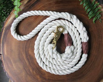 Cotton Rope Dog Leash - Nautical Dog Leash, Dog Lead, Rope Dog Lead, Pet Wedding, Handmade Dog Leash, Natural Dog Leash, Soft Dog Leash