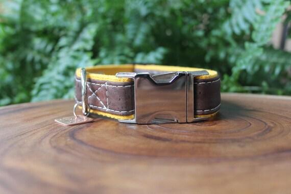 Collier de chien marron Liège marron cuir chien - 1» coton jaune sangle, collier de chien, cadeau pour animaux de compagnie, fait à la main collier de chien, collier de votre animal,