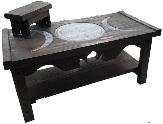 Triple Moon Goddess Pedestal Altar Table with Shelf