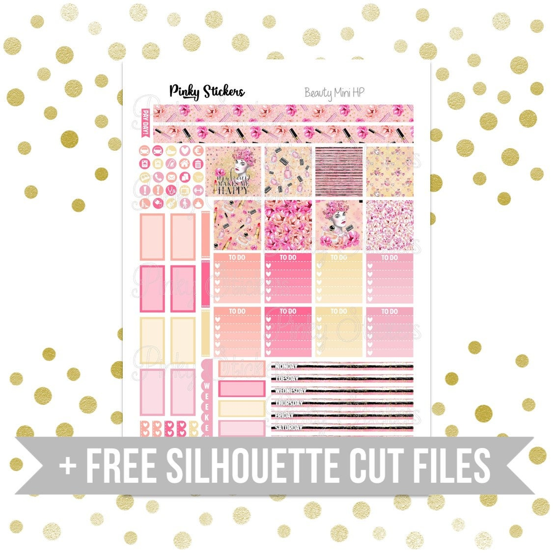 Beauty Weekly Kit for Mini Happy Planner   Printable   Includes Free  Silhouette Cutfiles