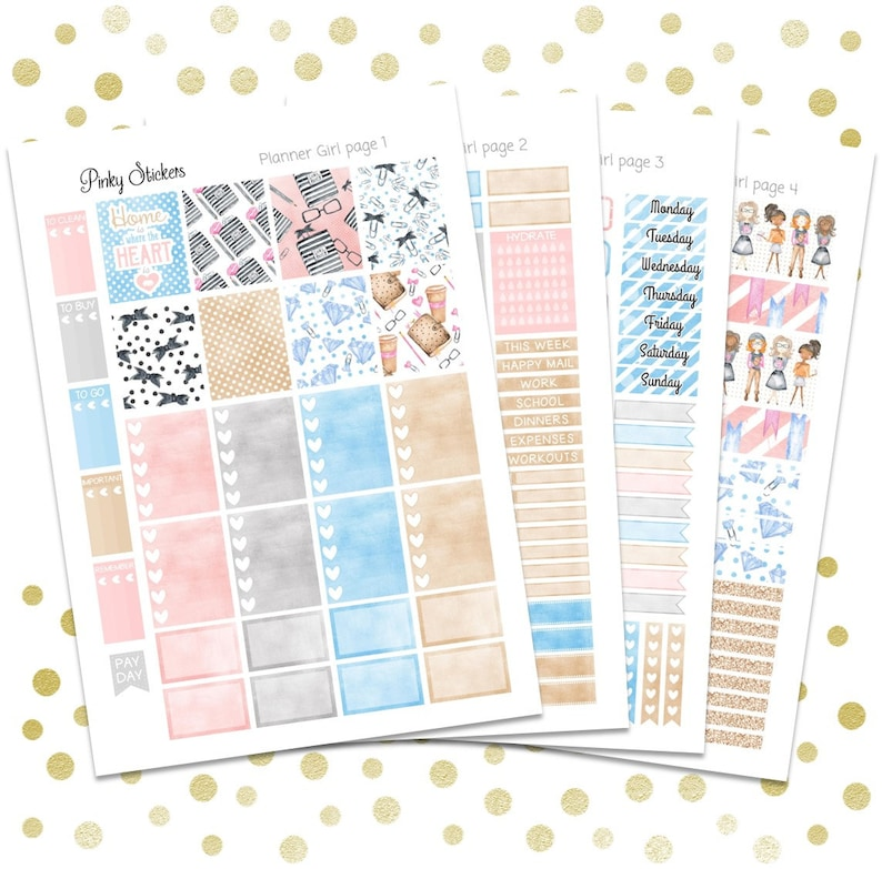 Planner Girl Weekly Kit for Erin Condren | Printable | Includes Blackout  Files for Easy Cutlines