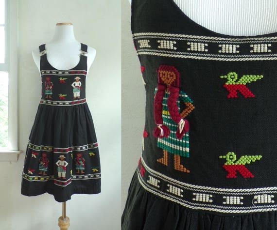 50s mexican mini dress woven cotton micro mini dre