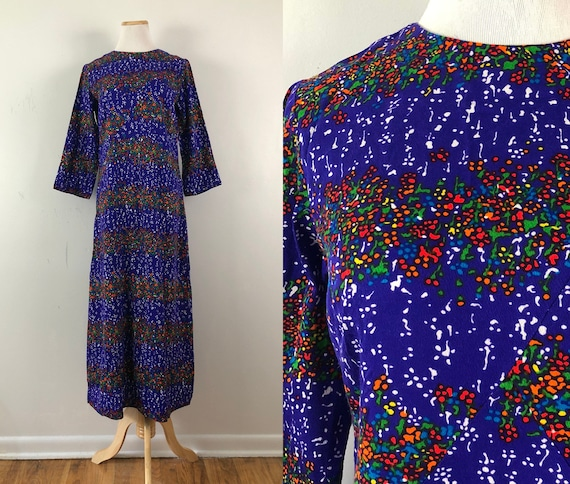 Vintage Rainbow Barkcloth Dress | 50s Abstract Pri