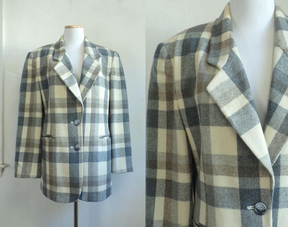Vintage Checkered Wool Blazer | 80s Boxy Cut Plaid